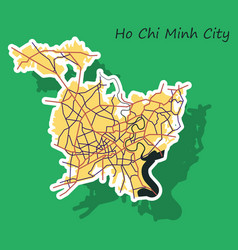 Sticker ho chi minh city administrative map vector