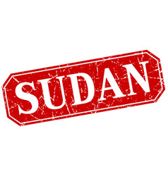Sudan red square grunge retro style sign vector
