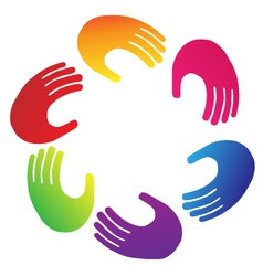 Teamwork hands logo vector image