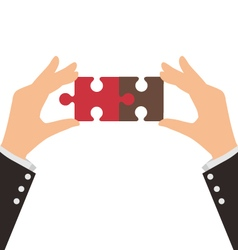 Two business hands connect two pieces of puzzle vector