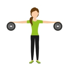 woman lifting weights isolated icon design vector image