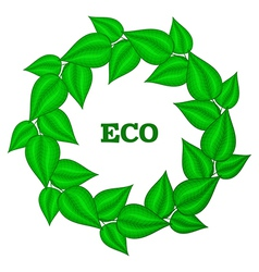 Wreath frame of green leaves eco gesign emblem for vector