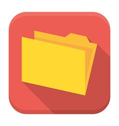 Yellow empty folder with paper flat app icon with vector