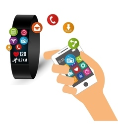 Hand hold smartphone smart watch sharing tech vector