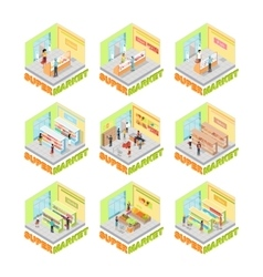 Supermarket interior set isometric vector