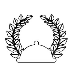 Tray with wreath leafs crown emblem vector