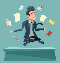 Businessman in nirvana at office work vector