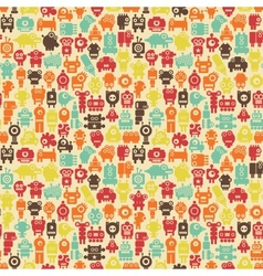 Robots seamless pattern in retro style vector image