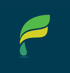 f modern business letter logo design vector image