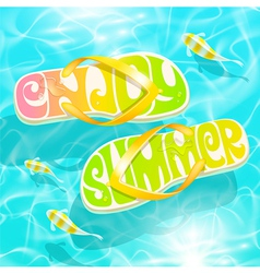 Flip-flop with summer greeting floating on water vector image