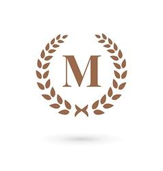 Letter M laurel wreath logo icon vector image