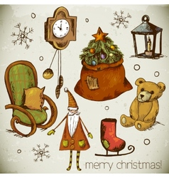 Set of hand-drawn new year and christmas elements vector