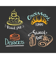 Set of labels logos for restaurant menu on the vector image