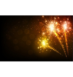 Festive yellow firework background vector