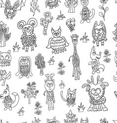 Seamless pattern fantastic zoo vector