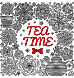 Romantic background with teapot vector