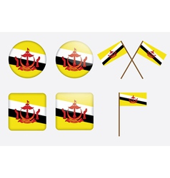 badges with flag of Brunei vector image