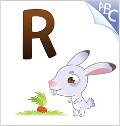 Animal alphabet for the kids R for the Rabbit vector image vector image