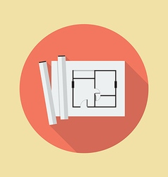 Architectural blueprint flat icon vector image