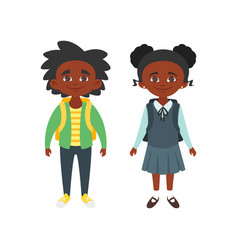 Boy and girl in school uniform vector