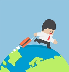 Businessman with suitcase walking around the world vector