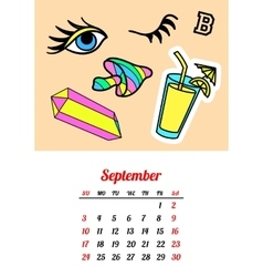 Calendar 2017 in cartoon 80s-90s comic style vector