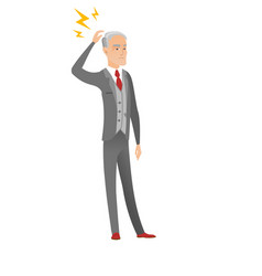 Caucasian businessman with lightning over head vector