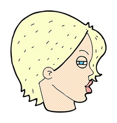 Comic cartoon female face with narrowed eyes vector