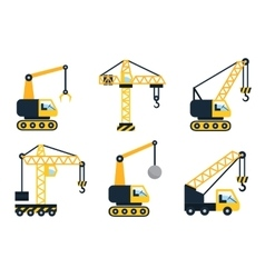 Construction icons types of cranes flat vector