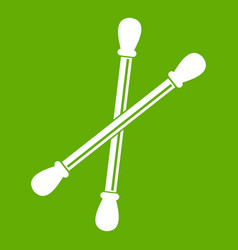 Cotton buds icon green vector