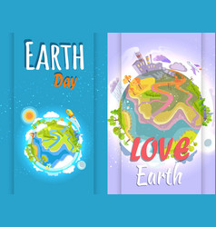 earth day banner of clean and polluted planets vector image