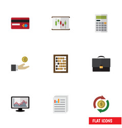 Flat icon incoming set of chart counter document vector