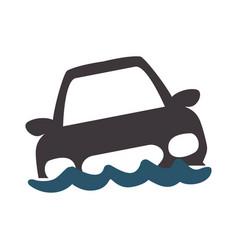 flooded car for danger weather vector image vector image