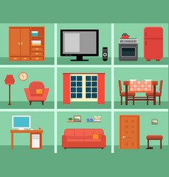 furnishing interior set for rooms in home vector image