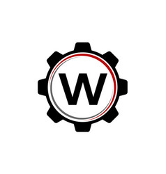 Gear solution logo letter w vector