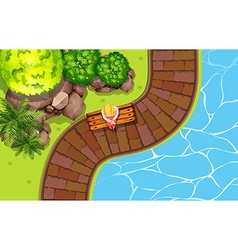 Girl sitting by the pool vector