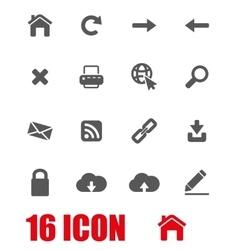 grey web icon set vector image