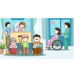 Happy people in hospital vector