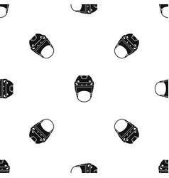Hockey helmet pattern seamless black vector