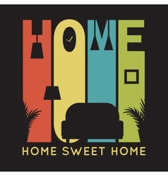 Home card with apartment icons t-shirt graphics vector image