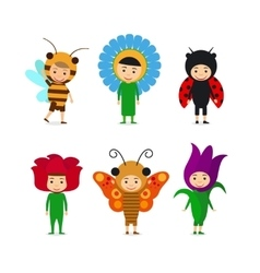 Kids in insect and flower dresses vector