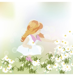 Little girl playing in a field of chamomile vector