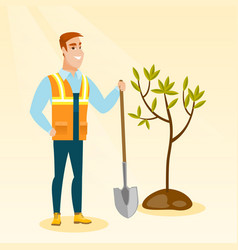 Man plants tree vector