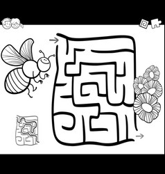 maze with bee coloring page vector image