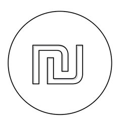 monochrome contour with currency symbol of israel vector image