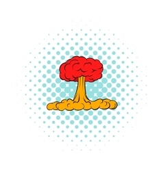 Nuclear explosion icon comics style vector