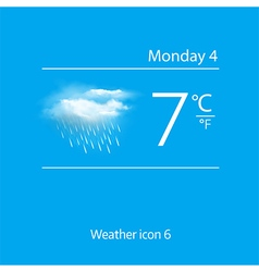 Realistic weather icon cloud with downpour vector