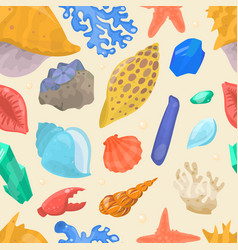 sea shells and stars marine cartoon clam-shell vector image