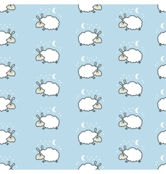 seamless cute sheep pattern vector image