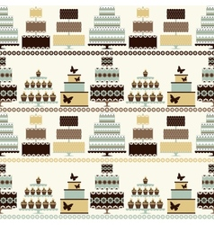 seamless pattern with decorative cakes vector image vector image